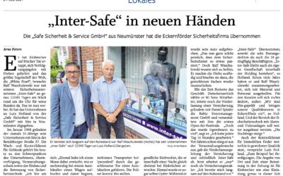 """Die SAFE Sicherheit & Service GmbH hat das Eckernförder Unternehmen """"inter-SAFE GmbH"""" übernommen. Lesen Sie hier mehr:"""